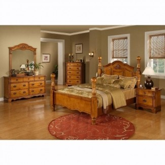 Juego de dormitorio con plataforma tamaño king con cama con dosel de madera maciza