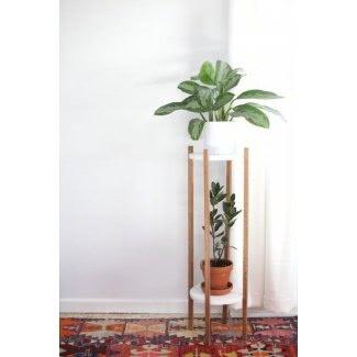 Soporte de esquina para plantas para interiores