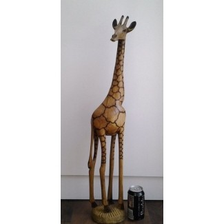 Estatua de jirafa alta de madera tallada a mano 1