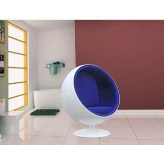 Silla moderna de diseño Eero Aarnio Ball con interior azul - Con