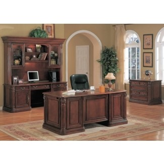 Decoración de oficina ejecutiva tradicional escritorio ejecutivo oficina de madera maciza de cerezo