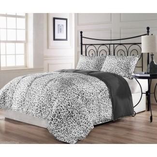 Ropa de cama tamaño king con estampado de leopardo