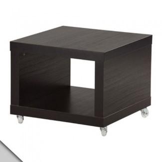 IKEA - LACK Mesa auxiliar con ruedas, negro-marrón