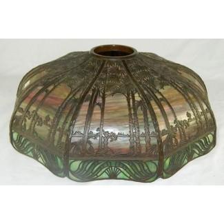 Pantalla de lámpara de vidrio de escoria Signed Handel en verde y rojo