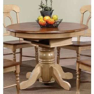 Mesa de comedor extensible de madera maciza de roble malasio