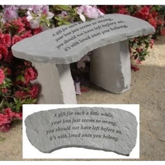 """14.5 """"A Gift Cast Stone Memorial Garden Bench"""
