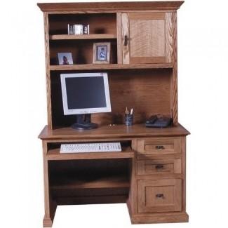 Escritorio de madera maciza para computadora con compartimento