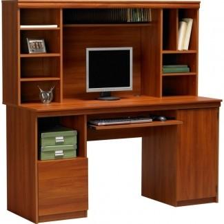 Escritorio de madera para computadora con aparador 4