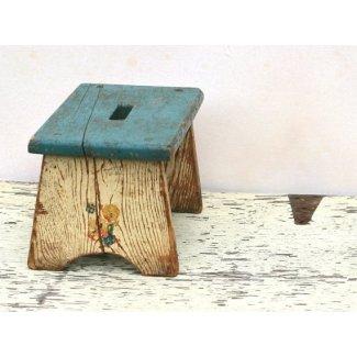 Taburete de madera para niños vintage rústico