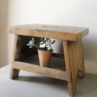 Taburete de madera vintage 1