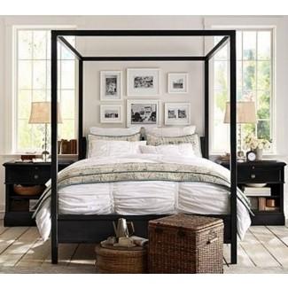 Cama Frances con dosel de metal cal king camas tradicionales con acabado de hierro