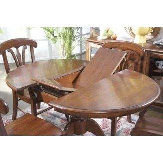 Mesa de comedor redonda de madera maciza con hoja
