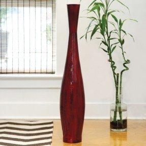 Florero de bambú rojo