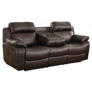 Sofá reclinable con portavasos marrón Eland 1