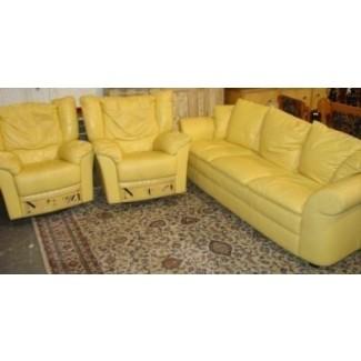 Sofás de cuero amarillo 2