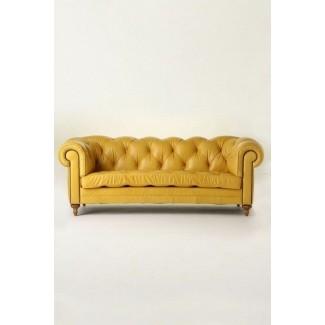 Sofá de cuero amarillo pálido