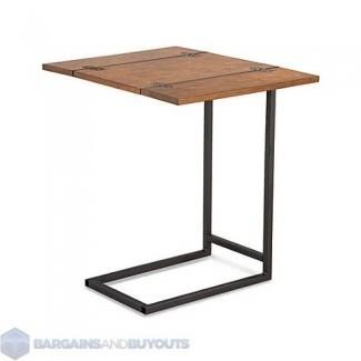 Mesa con bandeja extensible para interiores con acabado de nogal frotado 399096