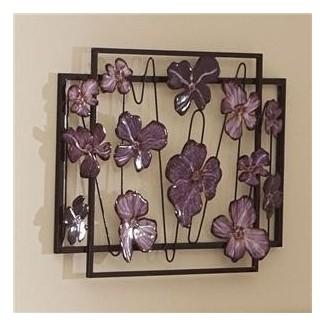 Decoración de escultura de arte de pared de metal abstracto de flor floral púrpura 3d