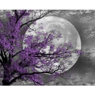 Pared de luna de árbol violeta blanco y negro