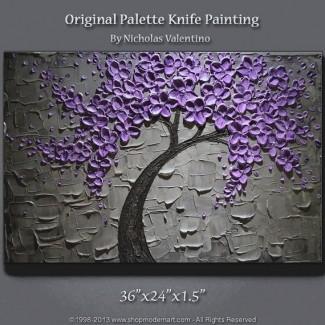 Empastado original texturizado grande de 36x24 [19659004] Impasto grande con textura original de 36x24 </b><br /> El arte mural bellamente realizado en tonos violetas es una ejecución excepcional y una combinación de colores única. El conjunto es extremadamente espacioso y presenta un árbol en flor. La solución perfecta para una sala de estar o dormitorio impresionante. </p> </p></div> </div> <div id=
