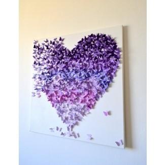 3d purple ombre butterfly heart 3d