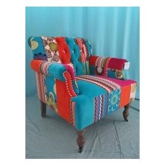 Nuevo sillón de patchwork de algodón de terciopelo inusual 79cm 31 pulgadas de ancho