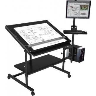 "Mesa de dibujo profesional 48 ""x36"" - Estructura negra, superficie negra"