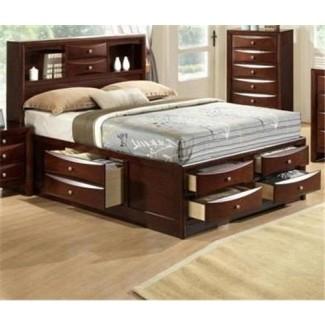 Estantería con cabecera de la colección Emily, cama queen o king capitains con
