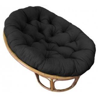 Artesanía de algodón - Papasan - Negro - Cojín de silla mullido - Hundirse en nuestro cojín Papasan realmente grueso y súper cómodo - Tela de pato 100% algodón puro - Ajuste perfecto para su dormitorio , estudio o en cualquier lugar donde desee estar cómodo y mimado - Se adapta a S