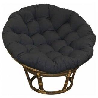Almohada grande negra de 44 pulgadas de sarga Papasan redonda para asiento de sillón para máxima comodidad