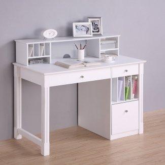 Escritorio para computadora de madera blanca de lujo con aparador 1