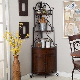 Estante de esquina de hierro forjado para panadería, estante de metal y madera para gabinete de cocina
