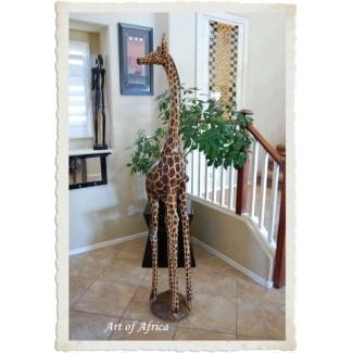 Escultura de madera grande de jirafa Tallas de arte africano de 6 pies de altura