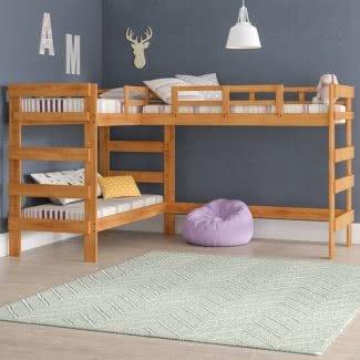 Litera triple en forma de L de madera maciza con dos camas