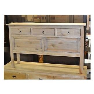 Mesa de salón de madera de mango rústico estrecho y mesa de sofá