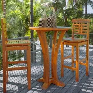 Mesa de bar de madera maciza sin terminar