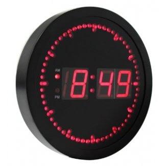 "eHealthSource Reloj de pared LED digital grande con segundo indicador LED circular - Forma redonda / LED rojo de 10 """