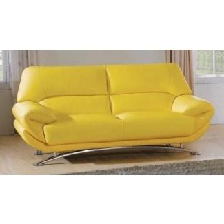 Sofá de cuero amarillo 12