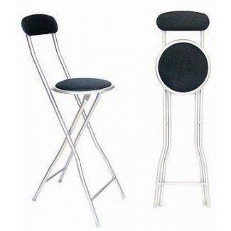Taburete plegable cromado negro barra desayunadora silla alta para fiestas cocina