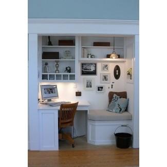 Escritorio de esquina para computadora con estantes
