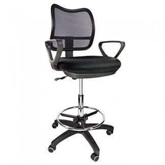 Silla de dibujo Taburete de dibujo de malla con respaldo medio Medical con asiento / brazos de tela (Negro -)