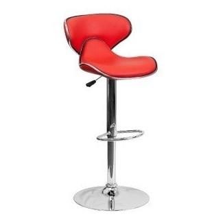 El mejor taburete de barra ergonómico ajustable en altura con asiento giratorio rojo cromado
