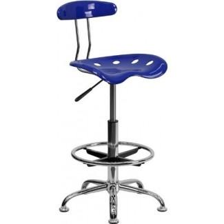 Flash Furniture LF-215-NAUTICALBLUE-GG Taburete de dibujo en cromo y azul náutico vibrante con asiento de tractor
