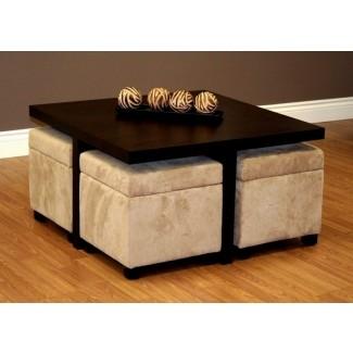 Nueva mesa de centro cuadrada con 4 otomanas de almacenaje marrón chocolate