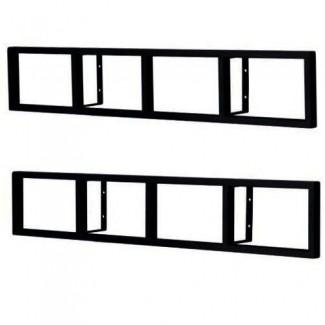 2 estante de metal negro para montaje en pared de estante de DVD y CD de lerberg
