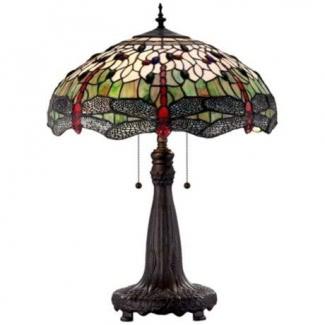Lámpara de mesa tiffany azul