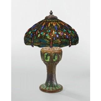 Lámpara Dragonfly tiffany lámpara de mesa con vitrales 6