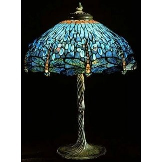 Lámpara Dragonfly tiffany lámpara de mesa con vitrales 5