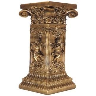 French Golden Floor Table Plant Stand Furniture Pedestal Post Column Interior Decor Tallado Querubines Estatua Escultura