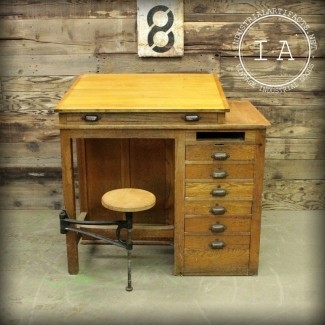 Taburete industrial vintage de 7 cajones columpio mesa de dibujo de madera escolar